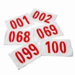 Hete-supply Numéros de dossard 1-100, numéro d'athlète en Tissu, dossard de Course en Polyester de Polyester Non rétractable, 25 17 cm / 9.84 6.69in