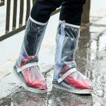HSAEMALL Couvre-Chaussures imperméables réutilisables pour Moto Scooter Cyclisme Bicyclette Bottes antidérapant à Fermeture Éclair Surchaussures Transparent (38/39 EU)