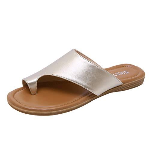 PAOLIAN Sandales Plates pour Femmes Printemps Été 2020 Tongs pour Femmes Correcteurs Oignons Confortables Tongs Sandales de Plage Femme Dress Up Mules Elegant Party
