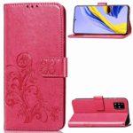 Tosim Coque Galaxy A71, Portefeuille Étui en Cuir Synthétique Fonction Stand Case Housse Folio à Rabat Compatible avec Samsung Galaxy A71 – TOSDA041908 Rose Rouge