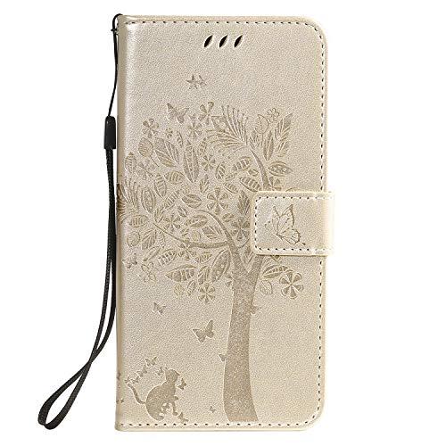 Tosim Coque LG K40S, Portefeuille Étui en Cuir Synthétique Fonction Stand Case Housse Folio à Rabat Compatible avec LG K40S – TOKTU081140 Or