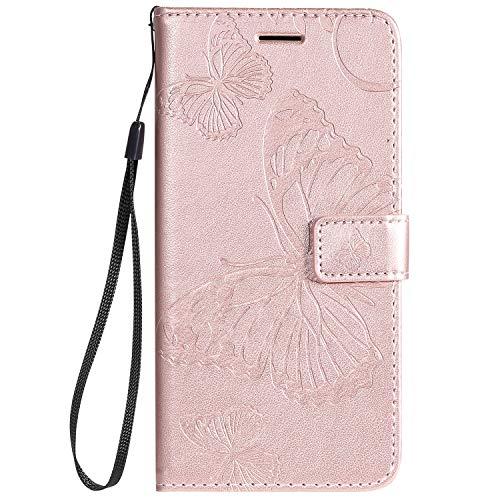 Tosim Coque LG K40S, Portefeuille Étui en Cuir Synthétique Fonction Stand Case Housse Folio à Rabat Compatible avec LG K40S – TOKTU090769 Or Rose