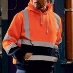Yumso Homme Sweat-Shirt à Capuche,Pull Rayure à Manches Longues Travail Réfléchissants Veste Vélo Visibilité De Sécurité pour Homme Haute Visibilité Sweats à Capuche à Manches Longues Top M-19XL