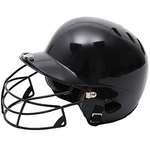 Casque De Baseball, Adulte Porter Un Casque De Frappe sur Le Visage Casque De Softball Lisse Résistant Aux Chocs Haute Densité,Noir,with Mask