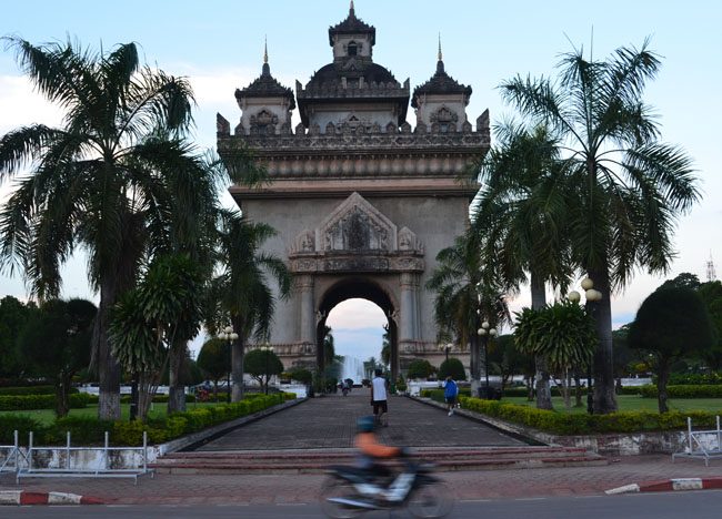 Patuxay Monument in Vientiane City Centre in Laos, Southeast Asia