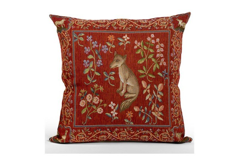black cotton chair covers heavy duty zero gravity luxury french medieval fox tapestry accent pillow