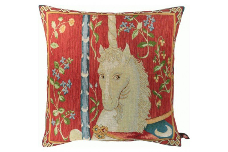 Luxury Medieval Unicorn Tapestry pillow from Lady and the