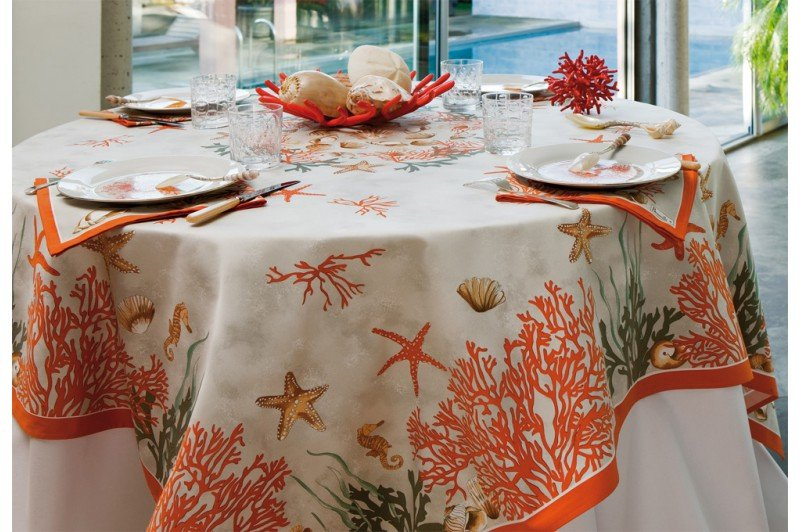 Coral French Tablecloth By Beauville Luxury French Table Linens