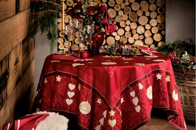 L Hiver Winter Joy Red Tablecloth French Luxury Christmas