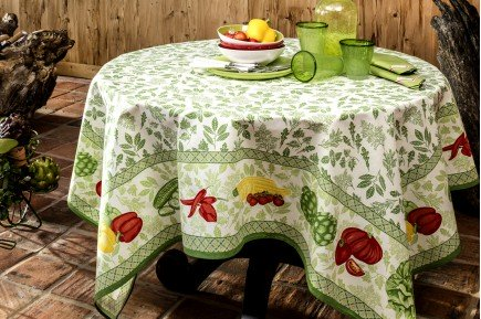 Romarin Green Country French Tablecloth by Beauville