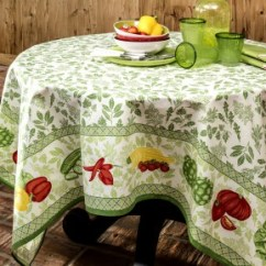 Country Kitchen Chair Cushions Plates Romarin Green French Tablecloth By Beauville