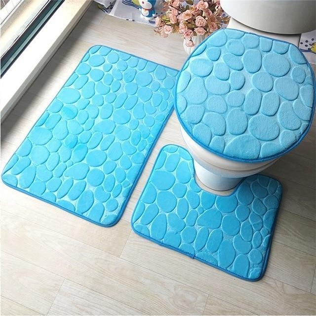 tapis pour salle de bain et wc 3 pieces