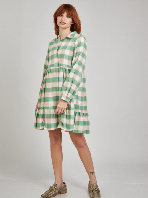 שמלה משובצת ירוקה