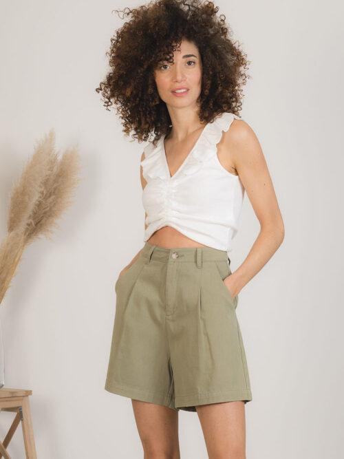 מכנסי ברמודה ירוק זית