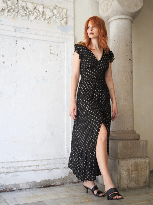 ELENA שמלה מקסי שחורה