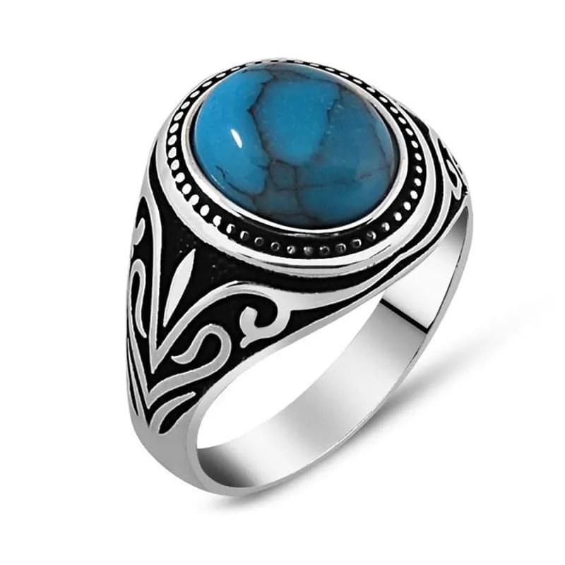 Round Turquoise Ferooza Men Ring Boutique Ottoman Exclusive