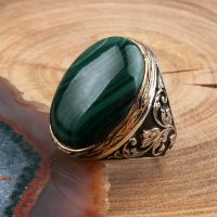 Malachite Stone Classic Silver Ring - Boutique Ottoman ...