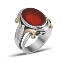 Modern Oval Aqeeq Men Ring - Boutique Ottoman Jewelry Store