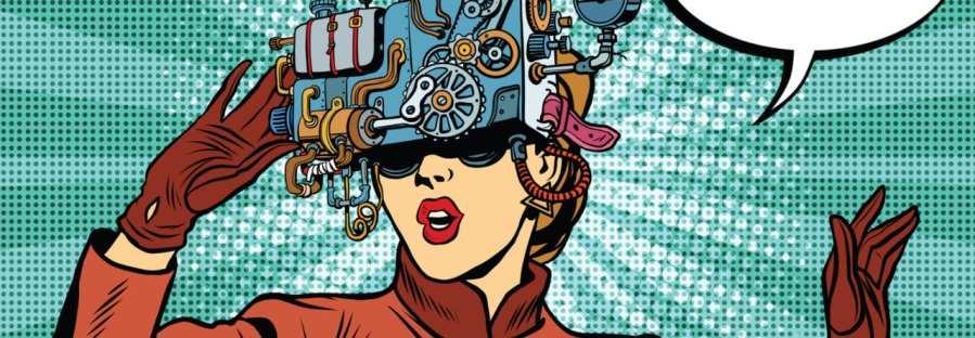 Frau blickt durch Maschine