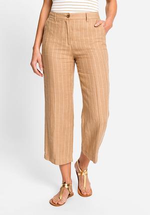 Pantalon Olsen 7/8 à jambes larges à rayures
