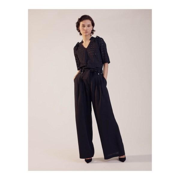 Pantalon Sinequanone en lin à pinces, jambes larges