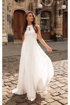 robe de mariée style romantique en mousseline et dentelle