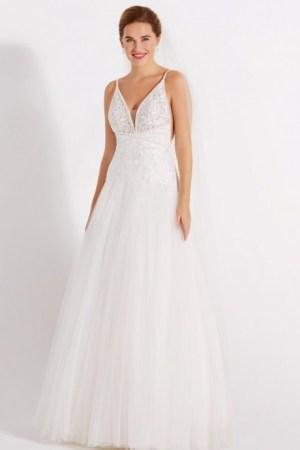 robe de mariée style romantique dentelle et tulle, fines bretelles