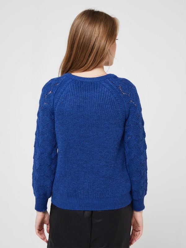 Pull en grosse maille manches ajourés c'est beau la vie - coloris bleu electrique