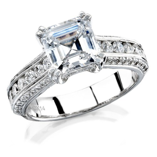 nk12056 3 - 14K WHITE GOLD PAVE CHANNEL FINISHED DIAMOND RING NK12056WED-W