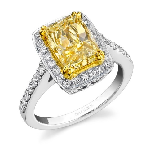 nk15691fy wy 3 - 14K WHITE AND YELLOW GOLD RADIANT FANCY YELLOW DIAMOND RING NK15691FY-WY