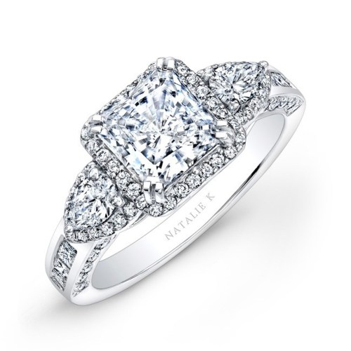 nk17954 w 2 3 - 18K WHITE GOLD PRINCESS HALO DIAMOND ENGAGEMENT RING WITH PEAR SIDE STONES NK17954-18W