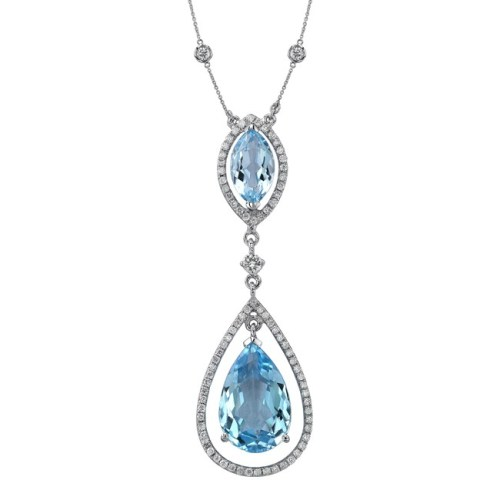 nk19983btpz 3 - 18K WHITE GOLD BLUE TOPAZ DIAMOND DROP NECKLACE NK19983BTPZ-W
