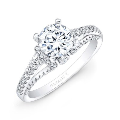 nk25791 w thrree qrtr 2 3 - 18K WHITE GOLD PRONG AND BEZEL ROUND DIAMOND ENGAGEMENT RING NK25791-18W