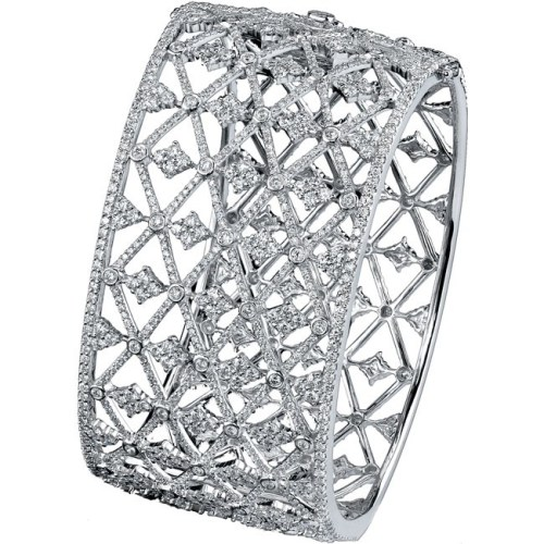 bangle2 - 18K WHITE GOLD PAVE BEZEL ROUND DIAMOND BANGLE