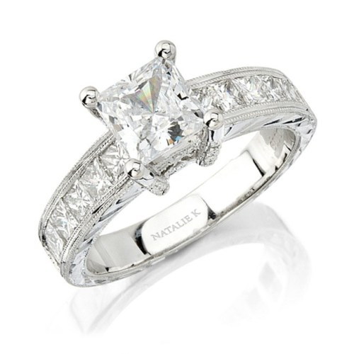 nk - 14K WHITE GOLD PRINCESS CUT DIAMOND ENGAGEMENT RING