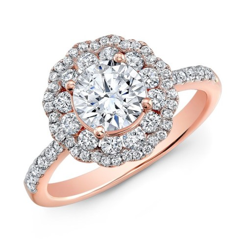 nk29672 18r three qrtr 1 1 - 18K ROSE GOLD DOUBLE HALO DIAMOND ENGAGEMENT RING