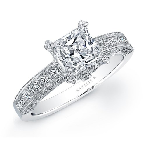 yo - 14K WHITE GOLD PRINCESS CUT DIAMOND ENGAGEMENT RING