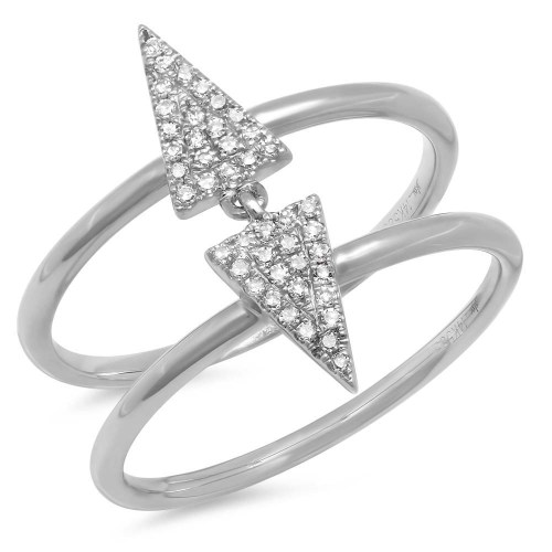 0.11CT 14K WHITE GOLD DIAMOND PAVE TRIANGLE RING - 0.11CT 14K WHITE GOLD DIAMOND PAVE TRIANGLE RING SC55001167