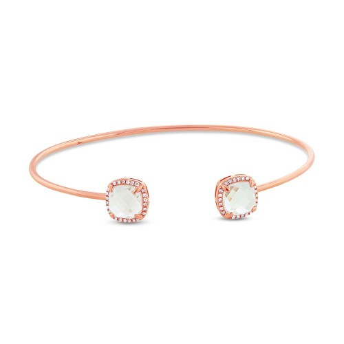 0.14CT DIAMOND 3.30CT WHITE TOPAZ 14K ROSE GOLD BANGLE - 0.14CT DIAMOND & 3.30CT WHITE TOPAZ 14K ROSE GOLD BANGLE SC36213216