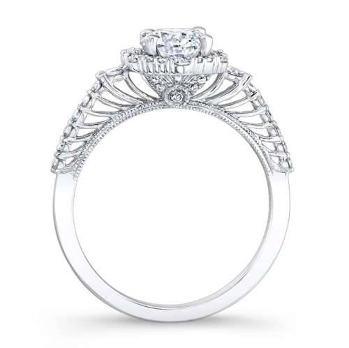 nk26336 w profile 1 - 18K WHITE GOLD PRONG HALO WHITE DIAMOND ENGAGEMENT RING
