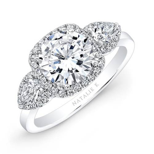 nk28373 18w three qrtr 3 - 18K WHITE GOLD PEAR SHAPED SIDE STONE SQUARE HALO ENGAGEMENT RING
