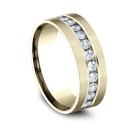 CF528531Y P2 1 - YELLOW GOLD 8MM CHANNEL SET DIAMOND BAND