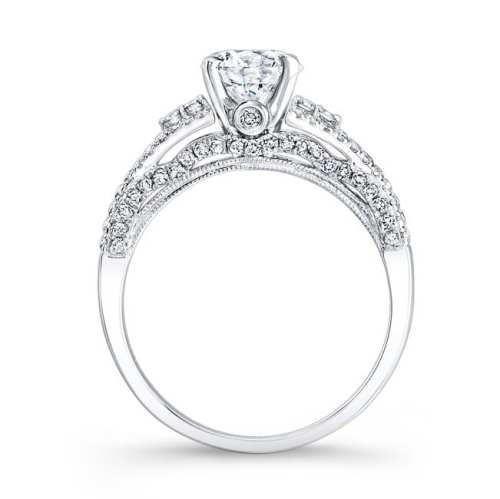 nk25790 w profile 1 - 18K WHITE GOLD PRONG AND BEZEL SET WHITE DIAMOND ENGAGEMENT RING