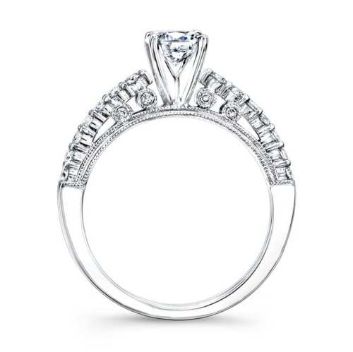 nk25849we w profile 1 1 - 18K WHITE GOLD PRONG SET WHITE DIAMOND ENGAGEMENT RING