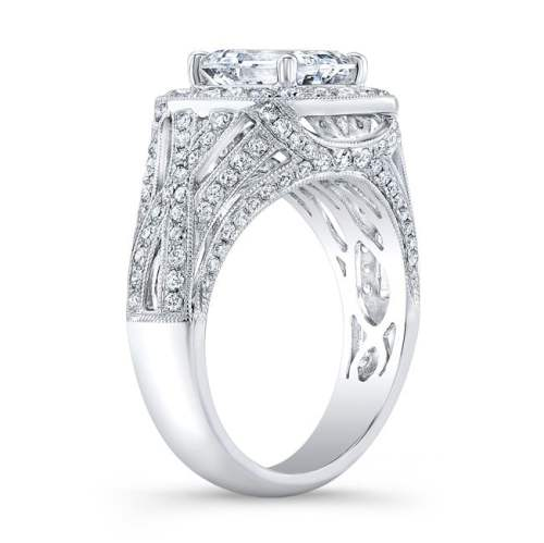 nk31548 18w side profile - 18K WHITE GOLD VINTAGE-INSPIRED DIAMOND HALO ENGAGEMENT RING