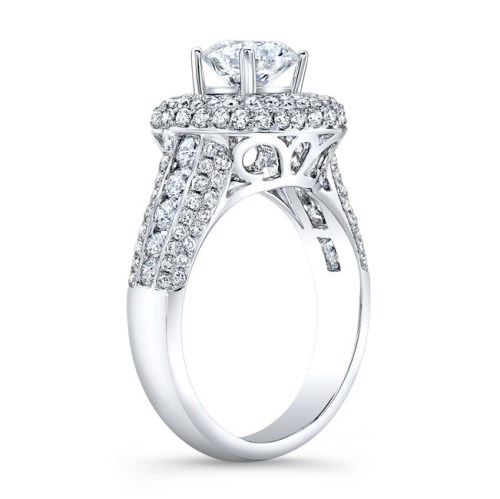 nk31702 18w side profile 1 - 18K WHITE GOLD MICRO PAVE PRINCESS CUT HALO DIAMOND ENGAGEMENT RING WITH SIDE STONES NK22438-W