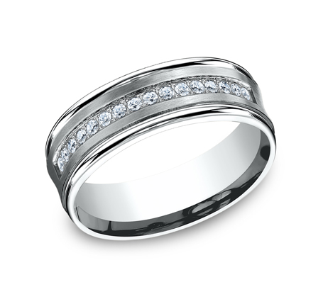 CF717593W P1 - 7.5MM  WHITE GOLD DIAMOND BAND CF717593W