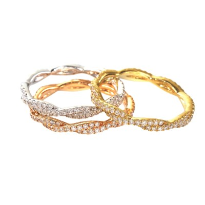 CR3234 - BOVA SIGNATURE  - 14K DIAMOND 0.29CT STACKABLE BANDS -  CR3234