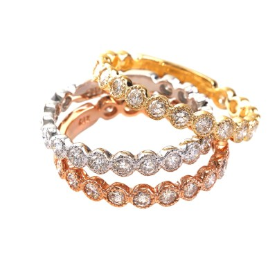 R556WPY - BOVA SIGNATURE  - 14K DIAMOND 0.70CT STACKABLE BANDS - R556