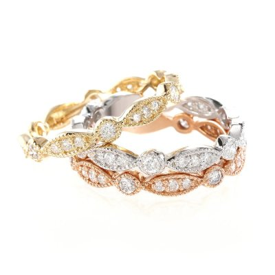 R565WPY - BOVA SIGNATURE  - 14K DIAMOND 0.36CT STACKABLE BANDS - R565